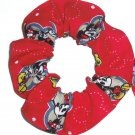 Disney Mickey Mouse Donald Duck Daisy Minnie Red Fabric hair Scurnchie Scrunchies by Sherry