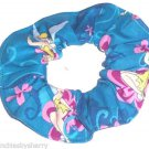 Disney Tinker Bell Teal Blue Fabric hair Scurnchie Scrunchies by Sherry