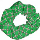 Candy Canes Christmas Holiday Green Lattice Fabric Hair Scrunchie Ties Scrunchies by Sherry