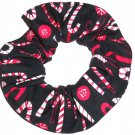 Candy Canes Christmas Holiday Black Fabric Hair Scrunchie Ties Scrunchies by Sherry