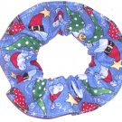 HO HO Santa Hats Christmas Holiday Blue Fabric Hair Scrunchie Ties Scrunchies by Sherry
