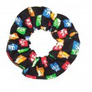 Beatles Faces Music Rock & Rock Black Fabric Hair Scrunchie Scrunchies by Sherry