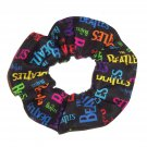 Beatles Music Rock & Rock Black Fabric Hair Scrunchie Scrunchies by Sherry