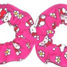 Hello Kitty Pink Flannel Mini Fabric Hair Scrunchie Scrunchies by Sherry Lot of 2