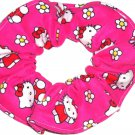 Hello Kitty Pink Flannel Fabric Hair Tie Scrunchie Ties Scrunchies by Sherry