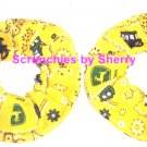 John Deere Yellow  Bandana Fabric Mini Hair Scrunchie Scrunchies by Sherry Lot of 2