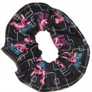 Think Pink Panther Black Fabric Hair Scrunchie Scrunchies by Sherry