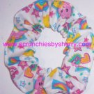 Care Bears White Fabric Mini Hair Scrunchie Scrunchies by Sherry Lot of 2