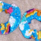 Care Bears Blue Fabric Mini Hair Scrunchie Scrunchies by Sherry Lot of 2