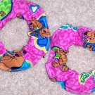 Hot Pink I Love Scooby Doo Fabric Mini Hair Scrunchie Scrunchies by Sherry Lot of 2