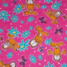 Garfield Cat Hair Flannel Pink Fabric Mini Hair Tie Scrunchie Scrunchies by Sherry Lot of 2