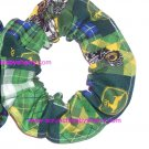 John Deere Tractors Patchwork Green Fabric Hair Scrunchie Scrunchies by Sherry