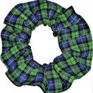 John Deere Tractors Classic Plaid Blue Green Fabric Hair Scrunchie Scrunchies by Sherry