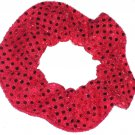 Red Sequin Dots Fabric Hair Scrunchis Scrunchies by Sherry