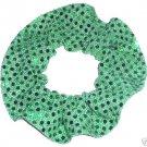 Green Sequin Dots Fabric Hair Scrunchis Scrunchies by Sherry