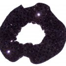 Black Sequin Dots Fabric Hair Scrunchis Scrunchies by Sherry