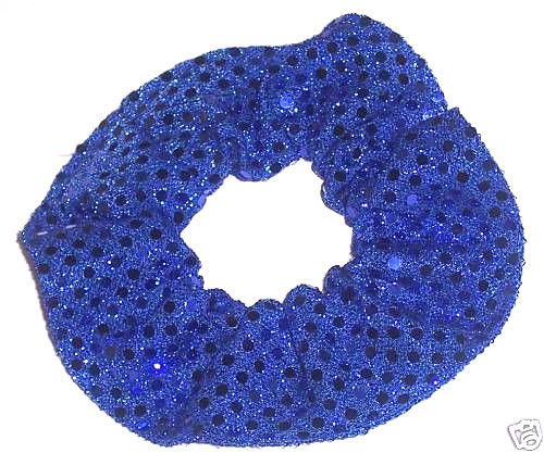 Royal Blue Sequin Dots Fabric Hair Scrunchis Scrunchies by Sherry