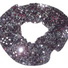 Silver Sequin Dots Fabric Hair Scrunchis Scrunchies by Sherry