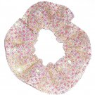 White Gold Sequin Dots Fabric Hair Scrunchis Scrunchies by Sherry