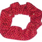 Red with Green Sequin Dots Fabric Hair Scrunchis Scrunchies by Sherry