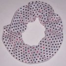 White with Red Sequin Dots Fabric Hair Scrunchis Scrunchies by Sherry