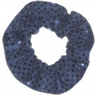 Navy Blue Sequin Dots Fabric Hair Scrunchis Scrunchies by Sherry