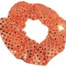 Orange Sequin Dots Fabric Hair Scrunchis Scrunchies by Sherry