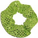 LIme Green Sequin Dots Fabric Hair Scrunchis Scrunchies by Sherry