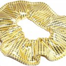 Yellow Foil Sequins Knit Hair Scrunchie Scrunchies by Sherry Fabric Ties Ponytail New