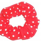 White on Bright Red Polka Dots Dot Fabric Hair Scrunchie Ties Scrunchies by Sherry