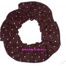 Tiny White Dots on Brown Polka Dots Dot Fabric Hair Scrunchie Ties Scrunchies by Sherry