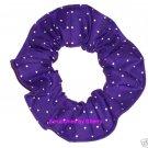 Tiny White Dots on Deep Purple Polka Dots Dot Fabric Hair Scrunchie Ties Scrunchies by Sherry