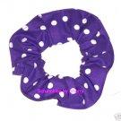 White on Deep Purple Polka Dots Dot Fabric Hair Scrunchie Ties