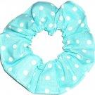 White on Aqua Polka Dots Dot Fabric Hair Scrunchie Ties Scrunchies by Sherry