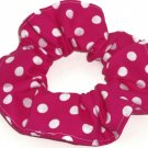 White on Hot Pink Polka Dots Dot Fabric Hair Scrunchie Ties Scrunchies by Sherry