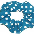 White on Turquiose Polka Dots Dot Fabric Hair Scrunchie Ties Scrunchies by Sherry