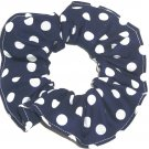 White on Navy Blue Polka Dots Dot Fabric Hair Scrunchie Ties Scrunchies by Sherry
