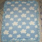 Clouds Blue Blanket Tie Dyed Hand Tied  Fleece Baby Pet Lap