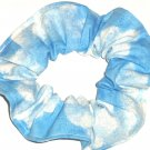 Clouds in the Sky Blue Fabric Hair Scrunchie Scrunchies by Sherry
