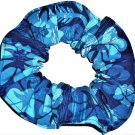 Tropical Blue Floral Flowers Fabric Hair Tie Scrunchie Scrunchies by Sherry