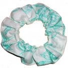 Green Flowers Floral Mint Fabric Hair Ties Scrunchie Scrunchies by Sherry