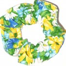 Blue Yellow Daisies Floral Fabric Hair Ties Scrunchie Scrunchies by Sherry