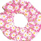 White Daisies Floral Pink Fabric Hair Ties Scrunchie Scrunchies by Sherry
