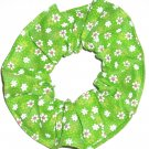 Daisy Daisies Floral Green Fabric Hair Ties Scrunchie Scrunchies by Sherry