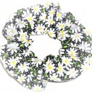 White Daisies Floral Black Fabric Hair Ties Scrunchie Scrunchies by Sherry