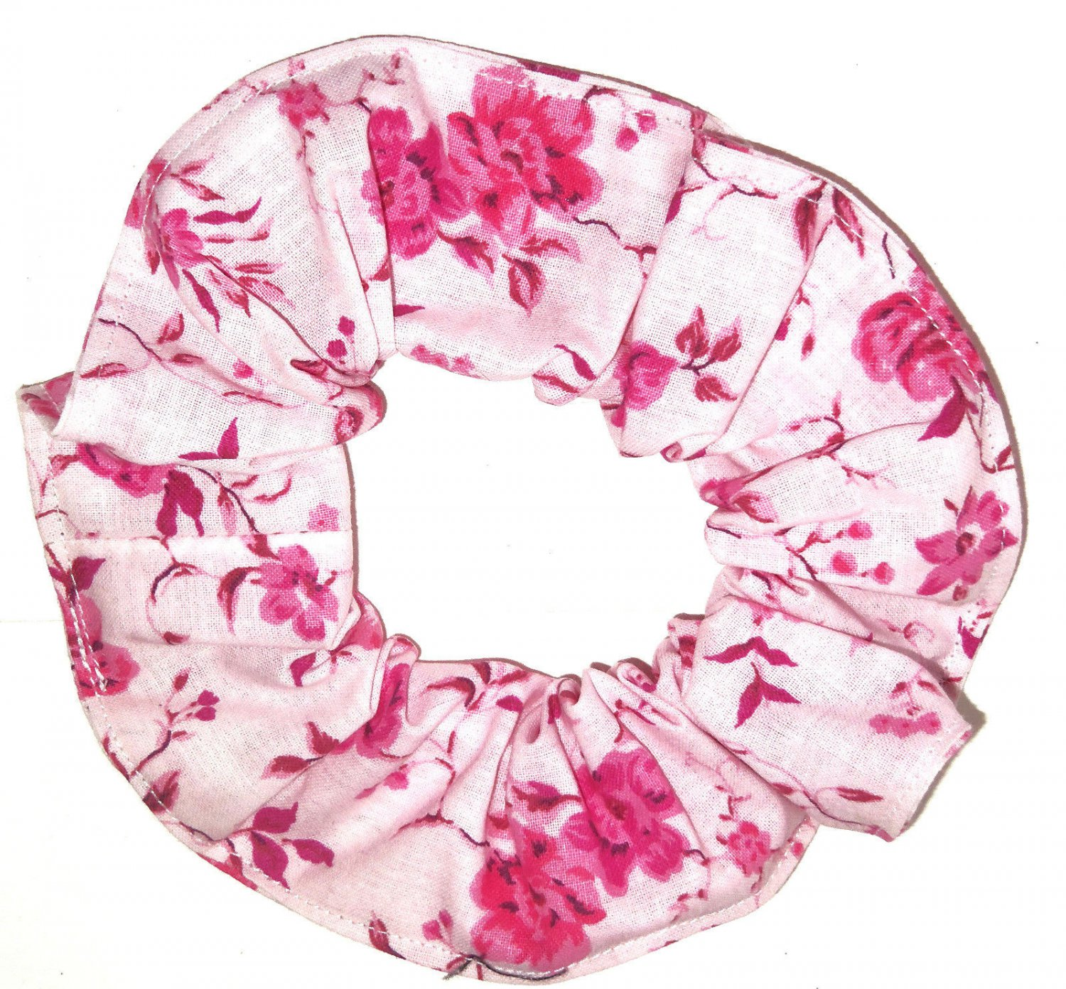 Pink Floral Flowers Pink Fabric Hair Tie Scrunchie Scrunchies by Sherry