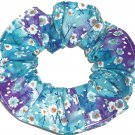 Blue Purple Floral Flowers Fabric Hair Tie Scrunchie Scrunchies by Sherry