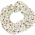Purple Yellow Floral Cream Fabric Hair Ties Scrunchie Scrunchies by Sherry