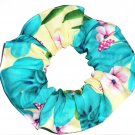 Tropical Teal Yellow Floral Fabric Hair Scrunchie Scrunchies by Sherry