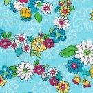 Aqua Floral Fabric Hair Scrunchie Scrunchies by Sherry